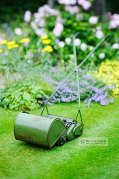 Vintage hand pushed cylinder mower with grass box made by JP Lawnmowers, Juneoward Rice Garden Photography - Gallery: Still Life Push Lawn Mower, Lawn Mower Tractor, Lawn And Garden, Garden Tools, Cordless Lawn Mower, Types Of Lawn, Grass Cutter, Landscaping Tools, Old Farm Equipment