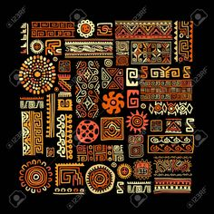 Illustration of Ethnic handmade ornament for your design. vector art, clipart and stock vectors. Tribal Images, Tribal Art, African Logo, Mexican Pattern, Pattern Sketch, Art Premier, Africa Art, Graphic Design Print, Mexican Art