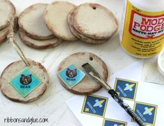 Mod Podge clip art on to DIY Salt Dough Ornaments