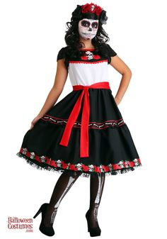 Get ready for Day of the Dead with our Women's Sassy Sugar Skull Costume. This dress features sugar skulls and roses for your Dia de los Muertos festivities. Sugar Skull Costume, Sugar Skull Makeup, Sugar Skull Art, Cool Halloween Makeup, Halloween Halloween, Vintage Halloween, Lace Skull, Modern Suits, Scary Halloween Costumes