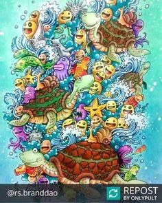 """""""#Repost @rs.branddao E aí vão as minhas tartaruguinhas Doodle. #doodle #doodleart #doodles #doodleinvasion #zifflin #kerbyrosanes #amoremcores…"""""""