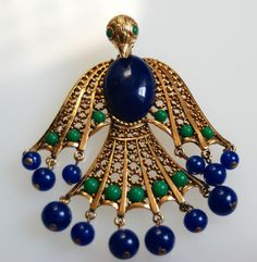Runway Style Egyptian Bird Pendant w Blue Green Glass Cabochon Hinged Body | eBay