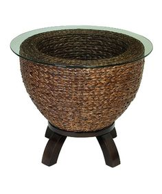 Look what I found on #zulily! Wicker & Glass End Table #zulilyfinds