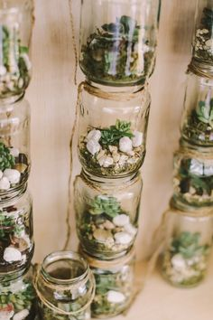 mason jar terrariums - photo by Lara Hotz http://ruffledblog.com/eclectic-and-fun-wedding-at-fernbank-farm