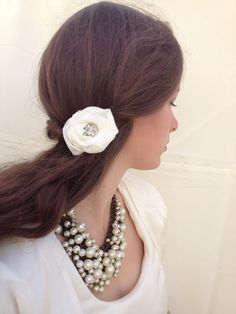 Vintage Wedding Hair Flower Bridal Hair Clip - Handmade using chiffon and upcycled backing fabrics