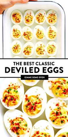 The BEST Deviled Eggs! - - Learn how to make deviled eggs with this classic deviled egg recipe that is always a crowd fave. See notes above for optional add-ins! Avocado Deviled Eggs, Best Deviled Eggs, Deviled Eggs Recipe, Healthy Deviled Eggs, Egg Recipes, Appetizer Recipes, Cooking Recipes, Baby Recipes, Party Appetizers