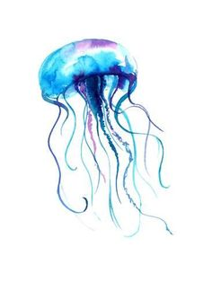 Art Print: Jellyfish Watercolor Illustration. Medusa Painting Isolated on White Background, Colorful Tattoo De by Anna Kutukova : 24x18in