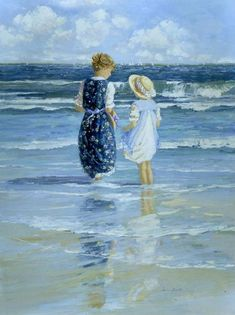 Wading by the Shore by Sally Swatland - 40 x 30 inches Signed impressionist beach scenes children playing contemporary american chase pothast Art Students League, Summer Memories, Beach Scenes, Landscape Paintings, Beach Paintings, Beach Artwork, Oeuvre D'art, Impressionism, Painting Inspiration