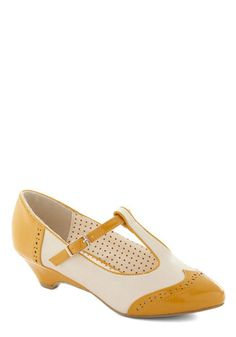 I really like these shoes but I don't have anything that would go with them!  Care to Dance? Wedge in Goldenrod, #ModCloth