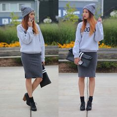 La Notte Sweater, Wilfred Dress, Wilfred Beanie, Choies Clutch, Jeffrey Campbell Booties