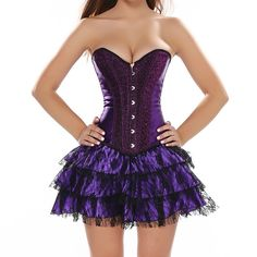 SODAO Womens Vintage Satin Burlesque Overbust Party Corset with Dress Set -- Check out the image by visiting the link. (This is an affiliate link) Corset Noir, Burlesque Corset, Plus Size Corset, Plus Size Lingerie, Sexy Lingerie, Dresses Uk, Dance Dresses, Waist Cincher Corset, Gowns