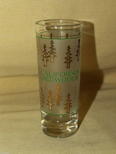 REDWOODS GLASS TREE SHOT BARWARE FROSTED GOLD CALIFORNIA SOUVENIR WEIGHTED BASE
