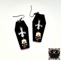 Crypt skull coffin earrings. Original Metal Liquor design www.metalliquor.co.uk