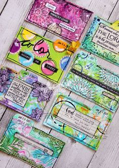 It's time to share a few more ICADs. I will also share the before and after on a few of them. I hope that will be helpful t. Bullet Journal Art, Art Journal Pages, Journal Cards, Art Journals, Bible Journal, Art Trading Cards, Gelli Printing, Mixed Media Journal, Scripture Cards