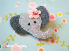 Gray Elephant Felt Hair Clip - non slip with a little sparkle - pink flower - circus birthday,carnival party hair clip on Etsy, $3.25