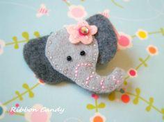 Gray Elephant Felt Hair Clip - non slip with a little sparkle - pink flower - circus birthday,carnival party hair clip on Etsy, $3.25