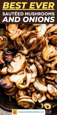 Using only a few SIMPLE ingredients, quick and easy sautéed mushrooms and onions are the PERFECT versatile side dish for steak, burgers, chicken or pork! Sauteed Mushrooms For Steak, Steak And Onions, How To Cook Mushrooms, Stuffed Mushrooms, Mushrooms For Burgers, Saute Onions, Steak Sides, Steak Side Dishes, Side Dishes Easy