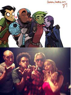 Teen Titans voice actors drawn as there characters. Old Teen Titans, Teen Titans Love, Teen Titans Fanart, Original Teen Titans, Beast Boy, Dc Comics, Funny Comics, Bbrae, Memes
