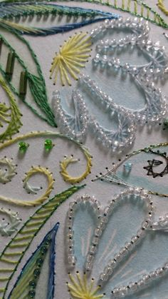 Paper embroidery with beads by Margaret