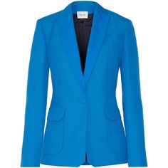 Pallas Andrea grain de poudre wool blazer (4.795 BRL) ❤ liked on Polyvore featuring outerwear, jackets, blazers, blazer, wool jacket, tux jacket, blue wool blazer, blue blazer jacket and blue tuxedo jacket