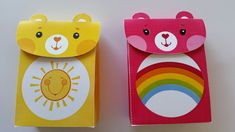 Care Bears birthday party favour boxes. Care Bear Birthday, Care Bear Party, Favour Boxes, Bookmarks Kids, Care Bears, Birthday Party Favors, Party Ideas, Baby, Favor Boxes