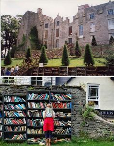 "Hay-on-Wye, Wales is often described as ""the town of books"" thanks to its large collection of bookstores and libraries, and none are more magnificent than Honesty Bookshop, a 24-hour open-air bookshop on the grounds of Hay Castle. The books, which are kept in bookcases against the castle wall, are paid for through a small letterbox. Elsewhere on the castle grounds, a mansion built in the 1660s is used for second-hand book sales."