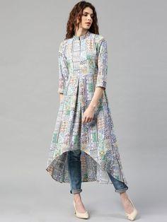 Buy Libas Multicoloured Polyester Printed High-Low Hem A-Line Kurta online in India at best price. Multicoloured printed A-line kurta, has a mandarin collar, three-quarter sleeves, curved high-low he Simple Kurti Designs, Kurta Designs Women, Stylish Dress Designs, Designs For Dresses, Stylish Dresses, Blouse Designs, Stylish Kurtis, Long Kurta Designs, Salwar Designs