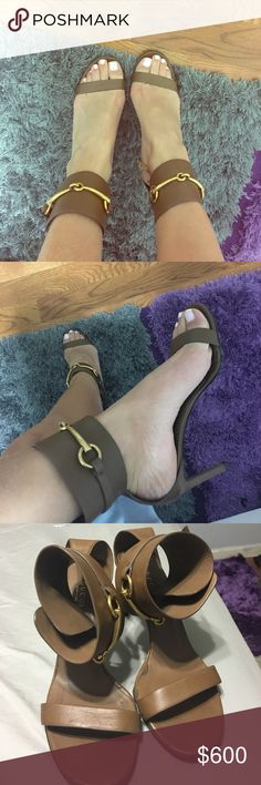 Brown and Gold Gucci Heels Gucci Heels worn a few times, so gorgeous on  Gucci Shoes Heels