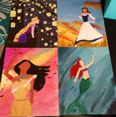 Painted my favorite Disney Princesses with acrylics on canvas. Captured moments in the movies in which they reach a sense of freedom and independence :)