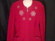 GEIGER Womens Red 42 Jacket Coat Blazer Winter Snow Flakes Austria #GEIGER #BasicJacket