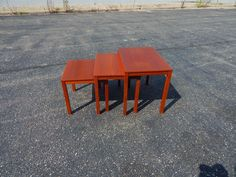 Bent Silberg's Mobler of Denmark nesting tables circa 1960. Tables are made of Teak and gradually get smaller to tuck away under each other.   eBay!