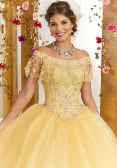 Off the Shoulder Quinceanera Dress by Mori Lee Valencia 60075 – ABC Fashion Quince Dresses, 15 Dresses, Pretty Dresses, Beautiful Dresses, Turquoise Quinceanera Dresses, Pretty Quinceanera Dresses, Yellow Ballgown, Yellow Dress, Tulle Ball Gown