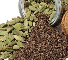 Cardamom  - Detoxifies the body of caffeine  - Cleanses kidneys and bladder  - Stimulates digestive system and reduces gas  - Expectorant action   - Improves circulation to the lungs and thus considered good for asthma and bronchitis  - Antispasmodic  - Can counteract excess acidity in the stomach  - Stimulates appetite  - Remedy for tendency to infection   - Cures halitosis (bad breath)
