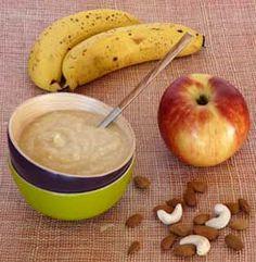 compote crue ou smoothie gourmand Pour 1 coupe 1 banane ou 1 mangue 2 pommes 1/2 c. à c. de cannelle en poudre le jus d'un demi-citron 12 noix de cajou 1/2 c. à c. de spiruline en poudre (facultatif)