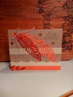 Cased from Linda Bledinger. All other designs original. Pumpkin Cards, Paper Pumpkin, Feather Dream Catcher, Dream Catchers, Feather Cards, Stampin Up Cards, Cricut Ideas, Pumpkins, Feathers