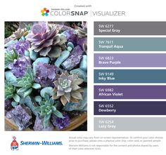 I found these colors with ColorSnap® Visualizer for iPhone by Sherwin-Williams: Special Gray (SW Tranquil Aqua (SW Brave Purple (SW Inky Blue (SW African Violet (SW Dewberry (SW Lazy Gray (SW Purple Color Schemes, Purple Color Palettes, Purple Palette, Paint Color Schemes, Laundry Room Colors, Paint Colors For Living Room, Room Paint, Bedroom Colors, Grey Purple Paint