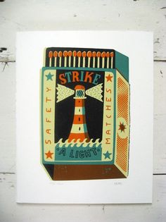 Browse and buy 'Strike a Light' limited edition screen print by Tom Frost at Soma Gallery. This print is from Tom's series of nautical matchboxes. Tom Frost is an illustrator based in South Wales, previously Bristol. He studied illustration at Falmouth. Modern Oil Painting, Illustrators, Screen Printing, Contemporary Art, Cool Designs, Art Gallery, Framed Prints, Fine Art, Frost