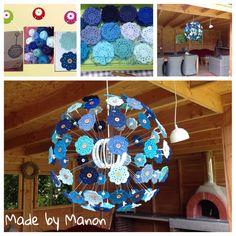 Ikea Maskros lamp gepimpt met 84 blauwe gehaakte bloemen. Patroon is een variant op de Maybelle flower.