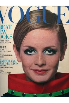 From Twiggy's drawn-on lashes in 1967 to Edie Campbell's monochrome eye liner this April, see the Sixties beauty trend on the cover of Vogue