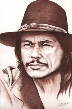 Charles Bronson--pencil drawing--VERY GOOD