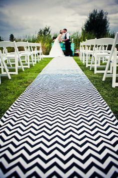 Super chic chevron aisle runner. Love chevron, may need this for when we have a vow renewal