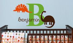 DINOSAUR I Initial Name Monogram Vinyl Wall Decal Sticker on Etsy, $28.50