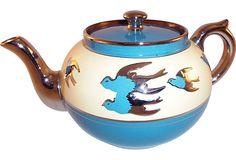 Staffordshire Blue Bird Teapot. Gasp.