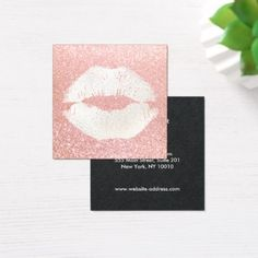 Cute Kiss Pink Glitter Makeup Artist Square Business Card - stylist business cards cyo personalize businesscard diy