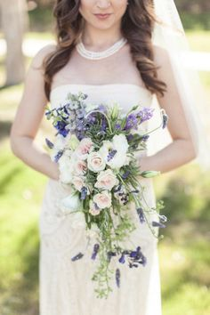 hydrangea cascade bouquet wedding