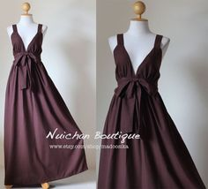 Long Brown Maxi Dress Elegant Vstyled Neck  Love Party by Nuichan, $55.00