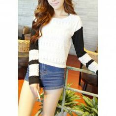 $6.85 Color Block Sweet Style Acrylic Long Sleeves Scoop Neck Sweater For Women