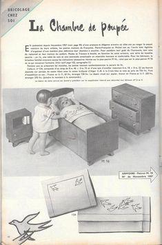 PAR AMOUR DES POUPEES :: M&T 1959-03 Parure de lit et tenues de nuit pour Françoise, Marie-Françoise et Michel