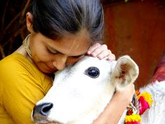 Indian girl hugging a cow it is considered a sacred animal to Hindus. Om Namah Shivaya, Namaste, Innocent Love, Animal Rights, Going Vegan, Indian Beauty, Cute Babies, Calves, Religion