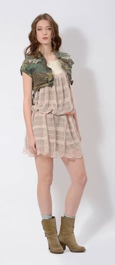 #short #mini #military #camouflage #vest on a #romantic #lace #dress is the perfect daytime outfit for this season by #danielacolombo
